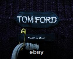 $1660 TOM FORD Super Soft 100% Cashmere Cableknit V-Neck Sweater Size 54 Euro XL