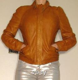 $895 Motorcycle Bomber Biker EXTRA-Soft Caramel Tan Lamb Leather Fitted Jacket L