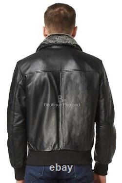 AIR FORCE' Men's Fur Collar Aviator BOMBER Real Soft Napa Leather Jacket 1169