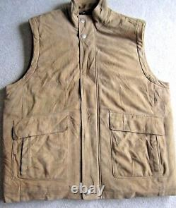 BROOKS BROTHERS Suede Soft Leather Quilted Lining Insulated Puffer Vest Zip XL