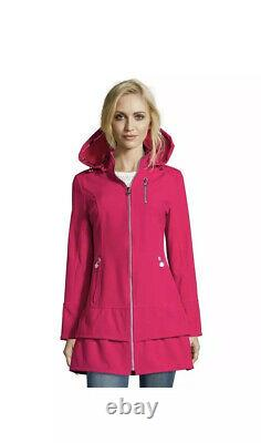 Betsey Johnson Soft Shell Hooded Coat Pink Water Repellent Ruffle XL Extra Large