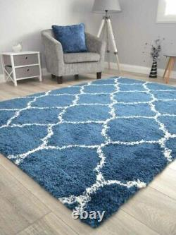 Blue Cream Off White Small Extra Large Soft Pattern Shaggy Floor Mat Rug Cheap