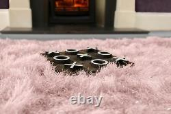 Blush Pink Large SHAGGY Floor RUG Soft SPARKLE Shimmer Extra Thick 9cm Pile