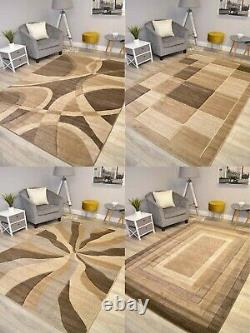 Brown Taupe Beige Floor Rug Small Extra Large Sizes Thick Soft Pile Mat Cheap UK