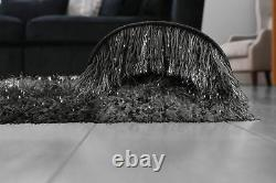 Charcoal Black Large SHAGGY Floor RUG Soft SPARKLE Shimmer Extra Thick 9cm Pile