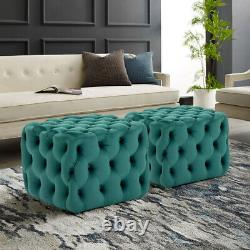 Chesterfield Coffee Table Deep Button Ottoman Footstool Seat Velvet Extra Large