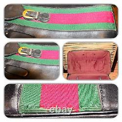 Chic Gucci Black Vintage Extra Large Soft Leather Green & Red Web Luggage