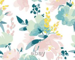 Delicate Watercolour Flowers Wall Mural
