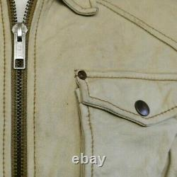 ENERGIE Utility Field Style 100% Soft Leather Jacket in Cream Men's Size XL