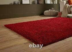 EXTRA LARGE THICK DARK RED BURGUNDY PLAIN SHAGGY LONG PILE SOFT RUG 200x290