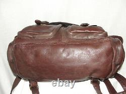 Ex-large Colombian Brown Leather Drawstring Flap Slide Clasp Backpack Tote Bag