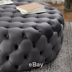Extra Large 40inch Chesterfield Velvet Cocktail Ottoman Pouffe Seat Coffee Table