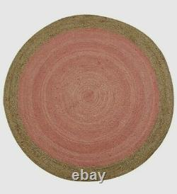 Extra Large Milano Soft Jute Rug with Pale Pink Centre 200 x 200cm