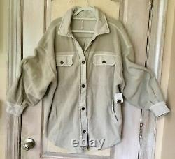 Free People Ruby Jacket Super Soft Oversized Button Elbow Patch Stone Tan XL NWT