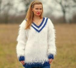 Fuzzy white mohair sweater V neck hand knitted fluffy soft jumper SuperTanya