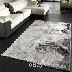 Grey Abstract Designer Rug Light Pale Tones Thick Soft Carpet Small Extra Large