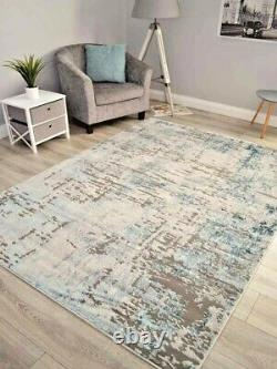 Grey Duckegg Blue Contemporary Rugs Small Extra Large Floor Carpets Soft Thick