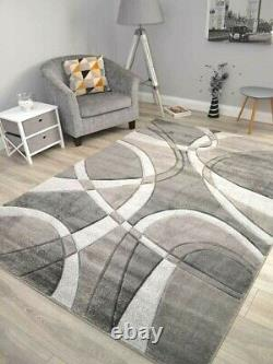 Grey Living Room Rugs Small Extra Large Turkish Floor Carpets Soft Thick Carved