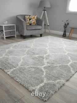 Grey Off White Small Extra Large Soft Thick Trellis Shaggy Floor Mat Rugs Cheap