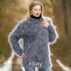 Grey fuzzy sweater soft mohair blouse top gray hand knitted jumper SUPERTANYA