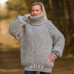 Grey wool sweater thick pullover gray hand knitted warm soft jumper SUPERTANYA