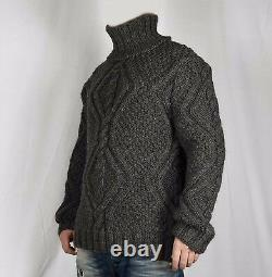 Hand Knitted 100% WOOL Pullover Men Sweater Turtleneck SOFT thick Jumper XL