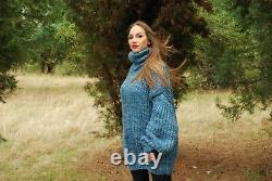 Hand Knitted Mohair SWEATER Fuzzy Soft T-Neck Pullover Women's Dress Blous 86