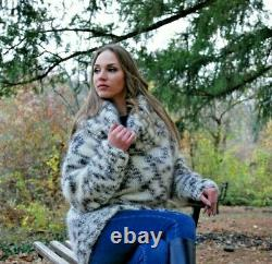 Hand Knitted Mohair Wool SWEATER Fuzzy Soft T-Neck Pullover Women's Blouse 118