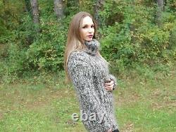 Hand Knitted Mohair Wool SWEATER Fuzzy Soft T-Neck Pullover Women's Blouse 121
