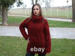 Hand Knitted Mohair Wool SWEATER Fuzzy Soft T-Neck Pullover Women's Blouse 137