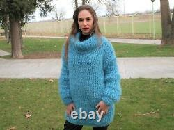 Hand Knitted Mohair Wool SWEATER Fuzzy Soft T-Neck Pullover Women's Blouse 143