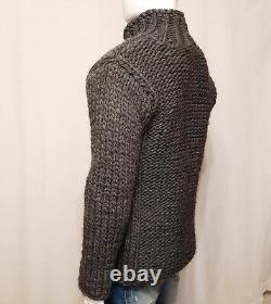 Hand knitted 100% WOOL mens jacket, thick LONG sweater with zipper soft VEST XL