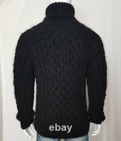 Hand knitted WOOL MOHAIR mens LONG sweater turtleneck cable thick soft hairy XL