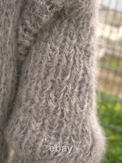 Handmade Gray Longhair Mohair Sweater with pockets Extra Soft by LanaKnittings