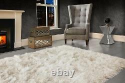 Ivory Cream Large SHAGGY Floor RUG Soft SPARKLE Shimmer Extra Thick 9cm Pile
