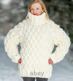 Ivory wool sweater thick pullover cable hand knitted warm soft jumper SUPERTANYA