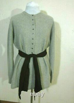 Jean Muir VTG 70s Scotland gray 3-ply cashmere tunic thick warm buttery soft XL