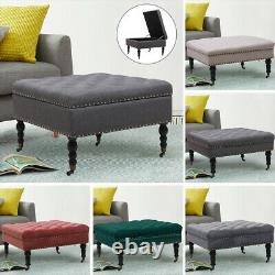 Large Chesterfield Extra Deep Button Stool Pouffe Coffee Table Footstool Wheeled