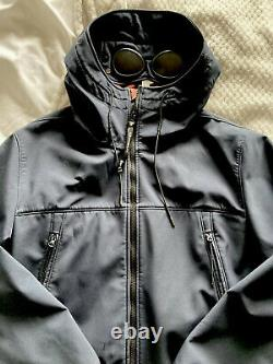 Large Navy Blue cp company soft shell goggle jacket (see Description)