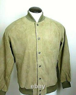 Levis Mens Goat Suede soft Leather Snap Front Bomber Jacket Beige Size XL NWT