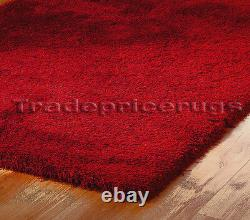 Med- Extra Large Thick Deep Pile Soft Luxurious Dense Modern Shaggy Rich Red Rug