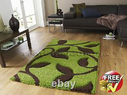 Medium Extra Large Thick Deep Chunky Pile Lime Green Brown Shaggy Soft Rug