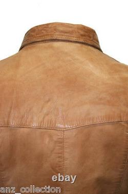 Men's Gents Tan Adjustable Collar Casual Retro Soft Real Leather Shirt Jacket