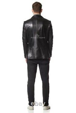 Men's Leather BLAZER Black Classic ITALIAN Tailored Soft REAL LEATHER Z-120