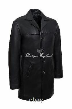 Men's Long Leather BLAZER Black Classic ITALIAN Tailored Soft REAL LEATHER 3476