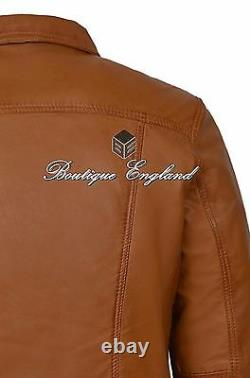 Men's TRUCKER Leather Jacket TAN SOFT REAL LEATHER Classic Western Jacket 1280