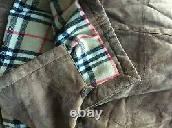 Mens Burberry London Soft Suede Leather Quilt Coat Wool Burberry Plaid Lining XL