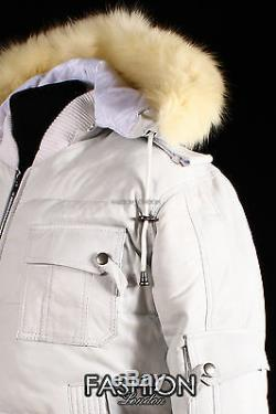 Mens LOCKHEED PUFFER HOODED Bomber Jacket White Soft Lamb Leather Quilted Jacket