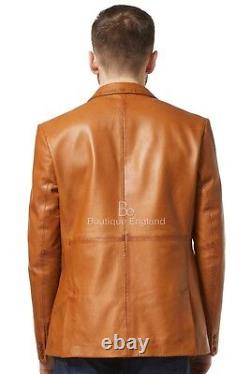 Mens Leather BLAZER TAN Classic ITALIAN Tailored Soft 100% REAL LEATHER 3450