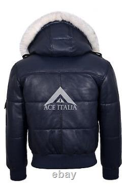 Mens Leather Hooded Jacket Navy Bomber Style GENUINE REAL SOFT LEATHER Pilot Six